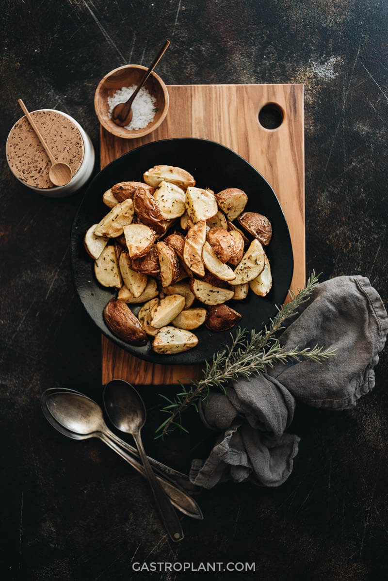 Air fryer roasted potatoes on plate