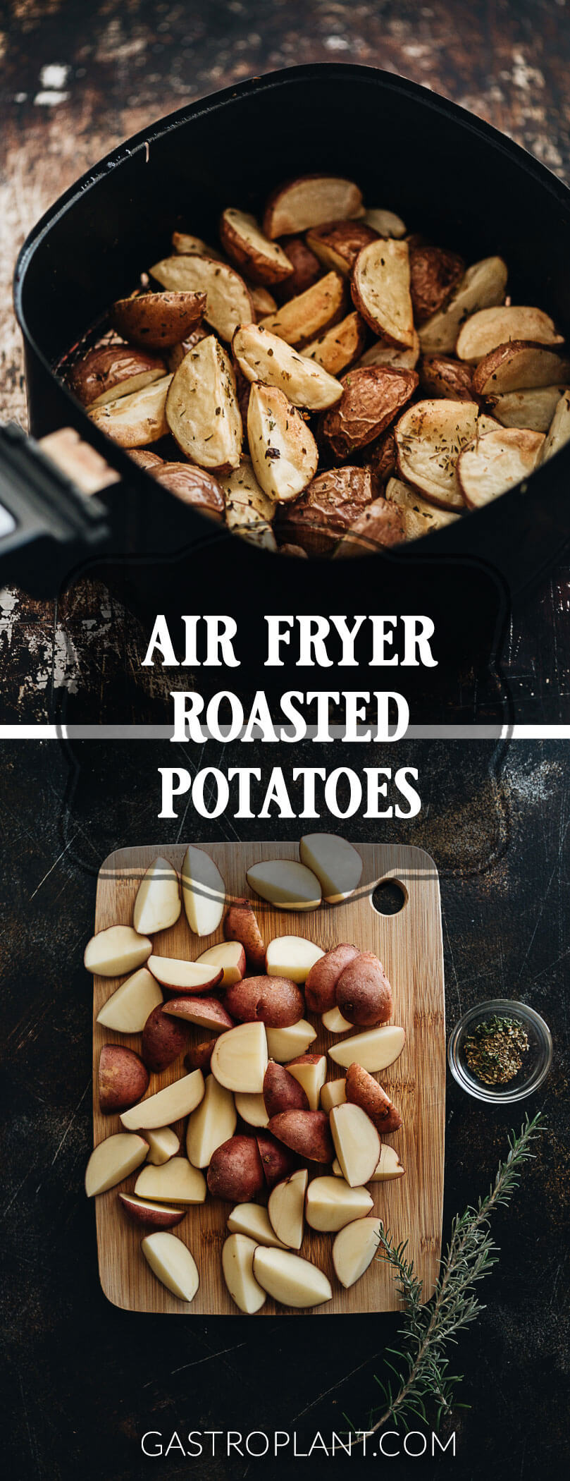 Air Fryer Roasted Potatoes - Perfect air fryer roasted potatoes make a great hearty side dish at breakfast, lunch, or dinner. They're crispy and tender, dusted with herbs, and extremely easy to make.