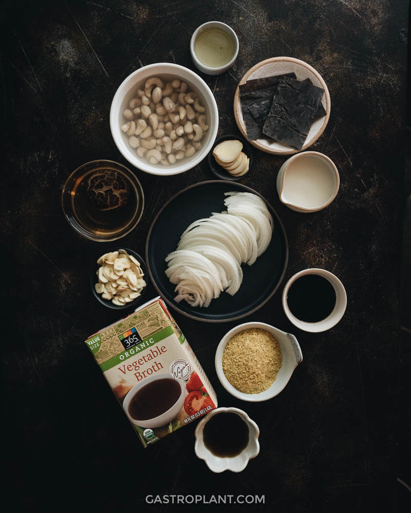 Ingredients for vegan tonkotsu broth