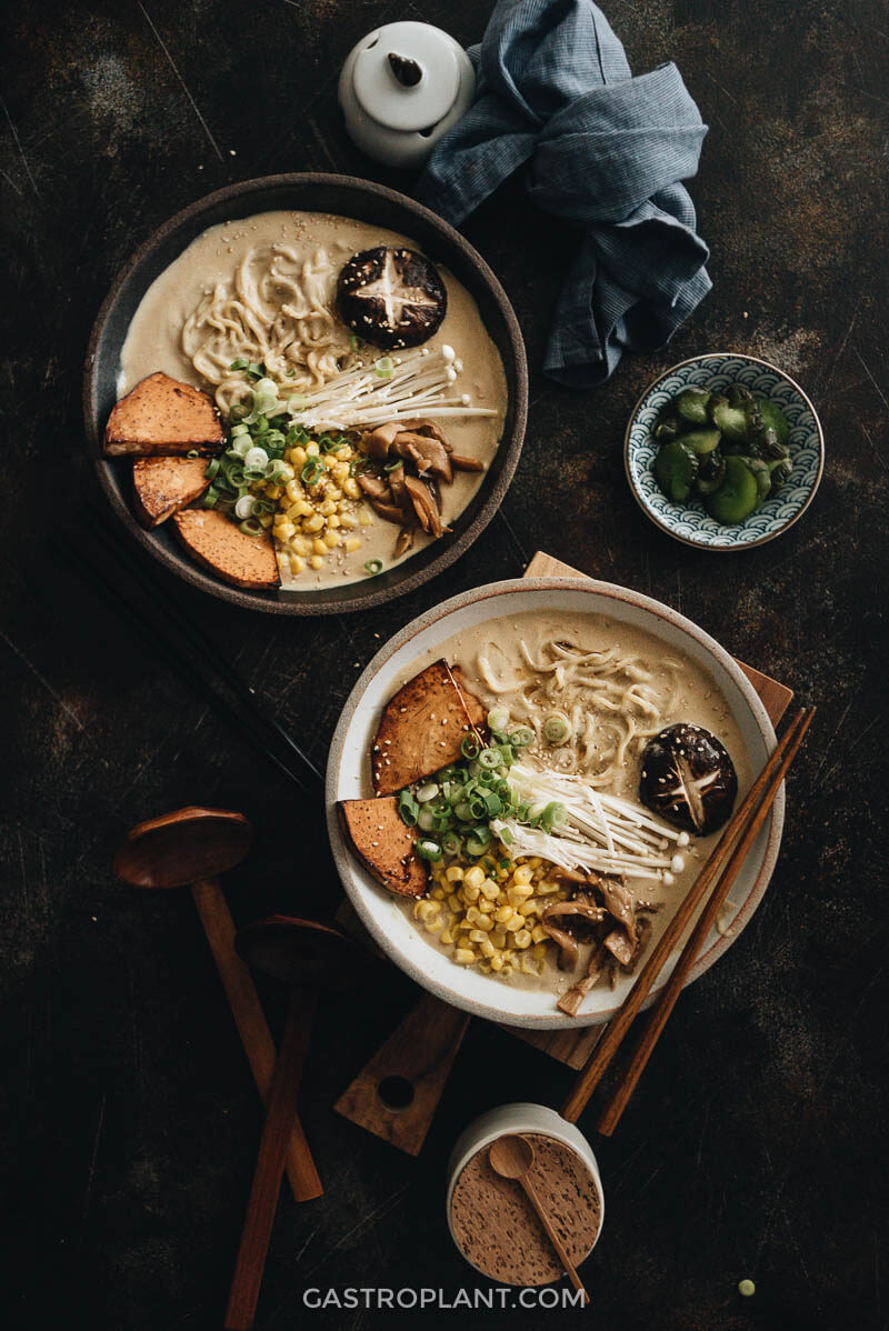 Two bowls of vegan tonkotsu ramen