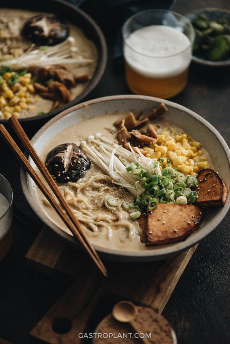 Two bowls of vegan tonkotsu ramen close-up