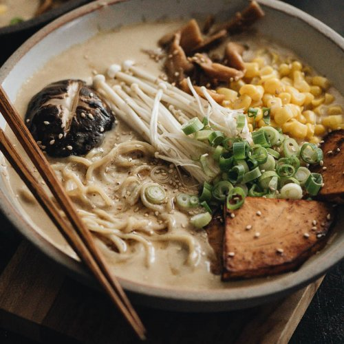 Vegan tonkotsu ramen close-up
