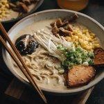 Vegan tonkotsu ramen in bowl
