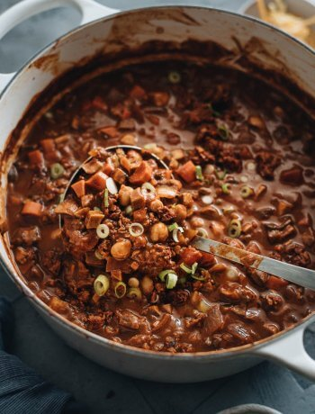Vegan chili in pot close-up