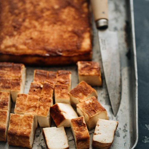 Easy baked tofu close-up