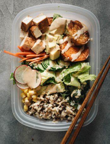 Japanese Buddha Bowl Meal Prep close-up