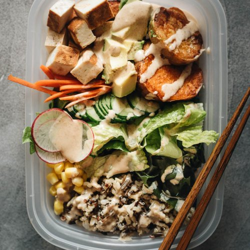 Japanese Buddha Bowl Meal Prep close-up