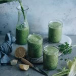 Morning green smoothie in glasses