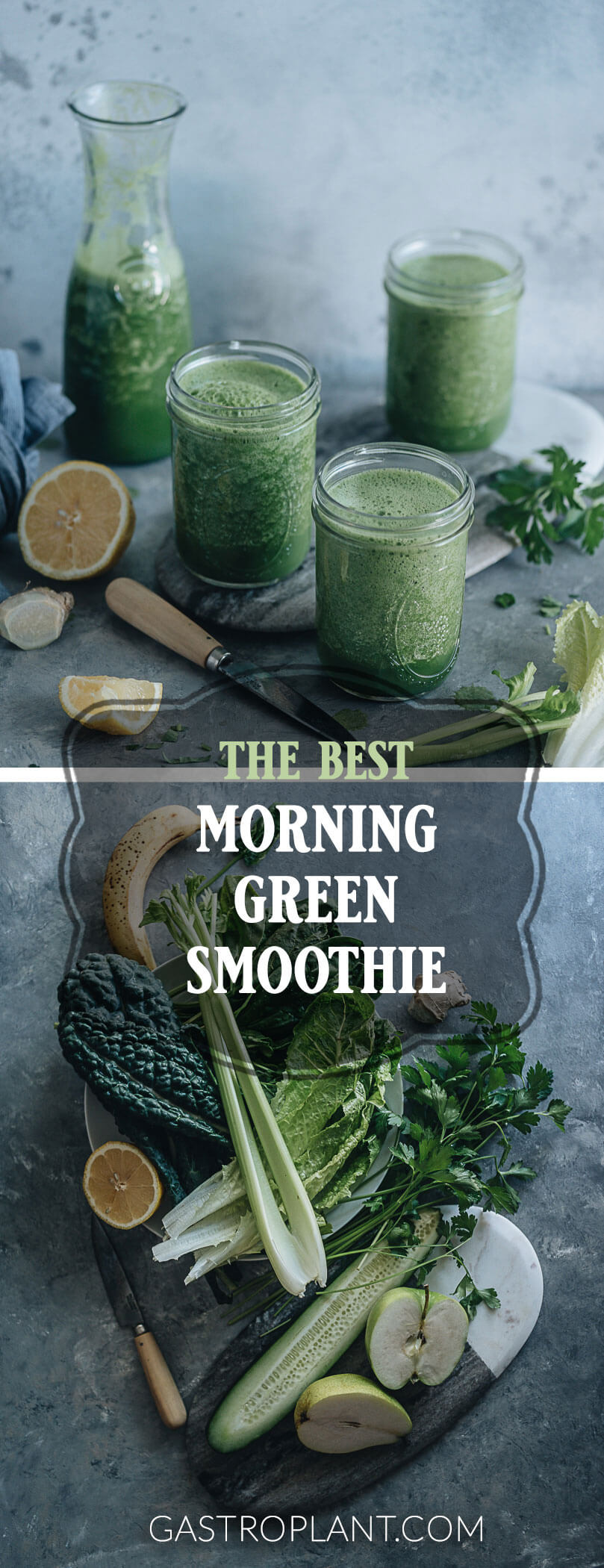 Morning green smoothie collage