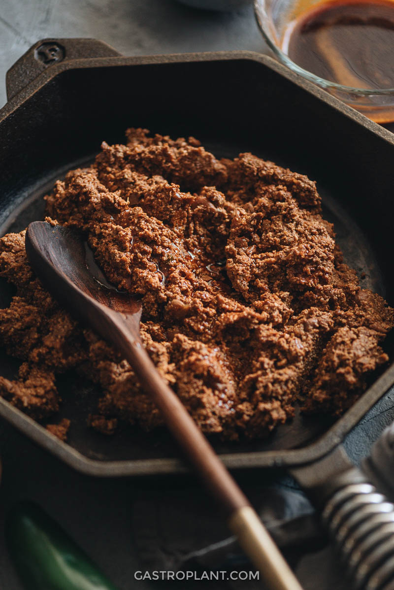 Homemade vegan chorizo close-up