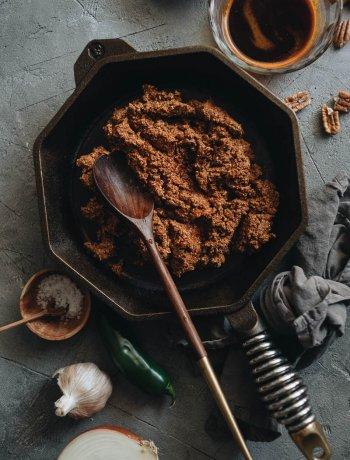 Vegan plant-based chorizo in a skillet