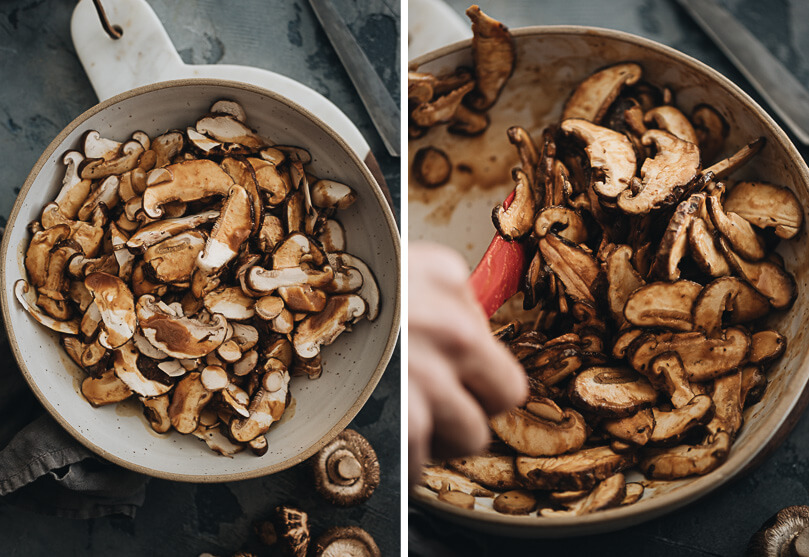 Vegan shiitake mushroom bacon preparation