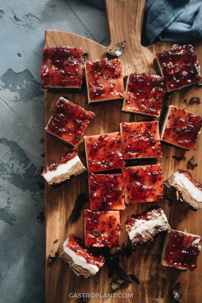 Easy chocolate coconut peanut butter and jelly bars