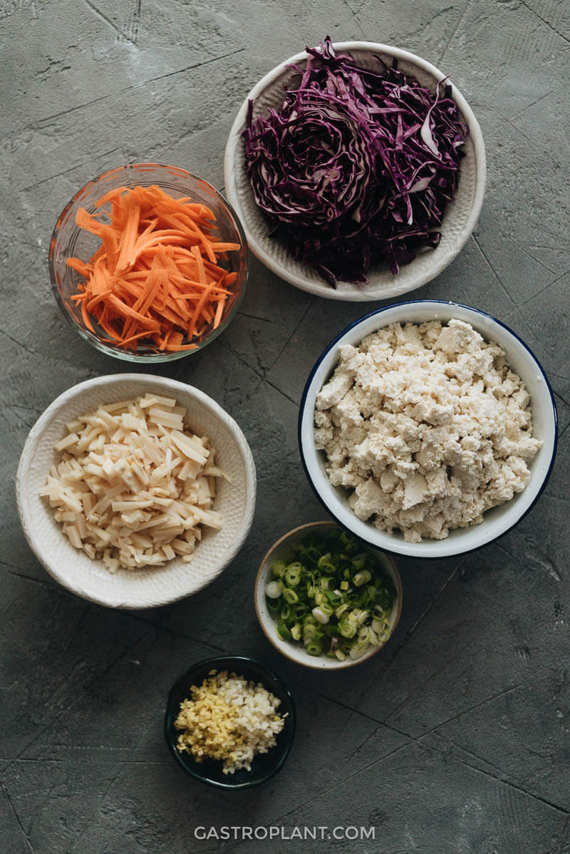 Vegan spring roll prepped ingredients