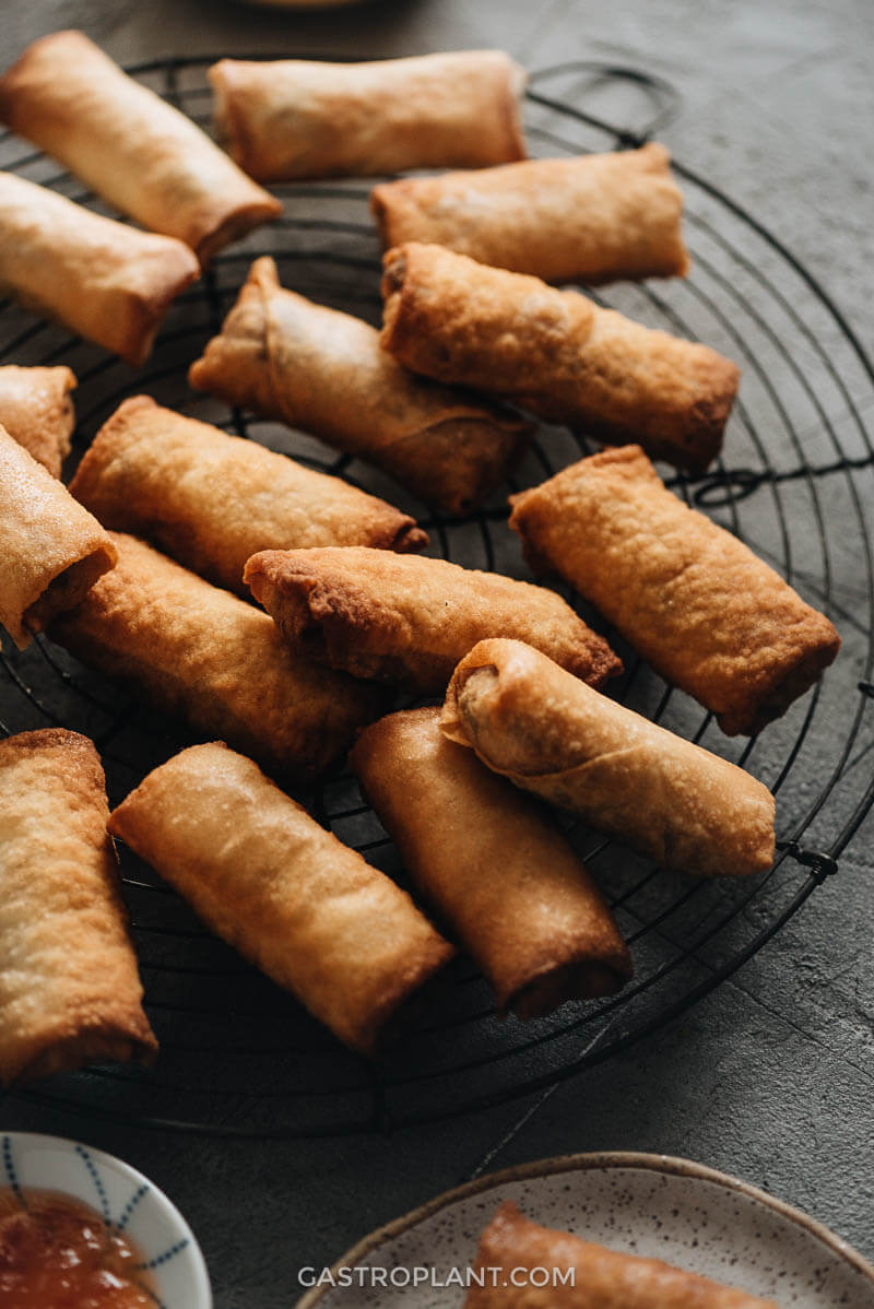 Fresh fried crispy vegan spring rolls