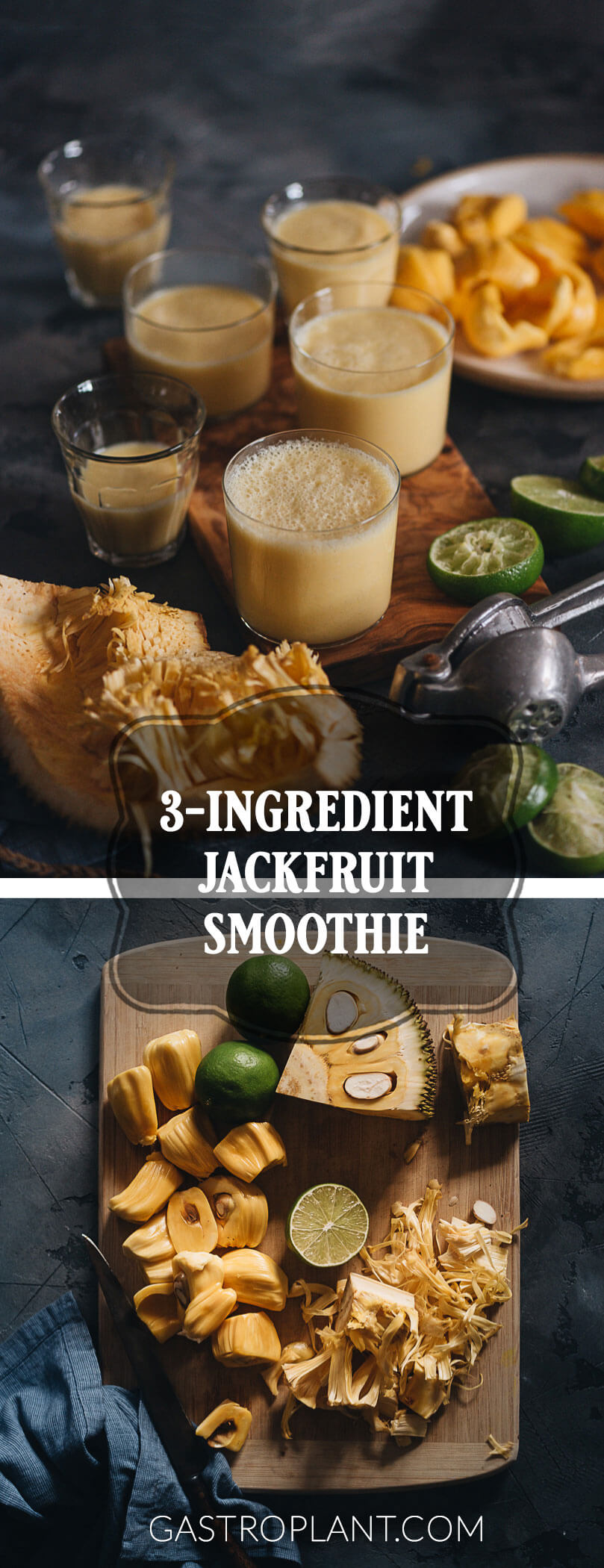 Easy Healthy 3-Ingredient Jackfruit Smoothie Collage
