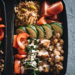 Healthy Mediterranean Buddha Bowl Meal Prep Close-Up