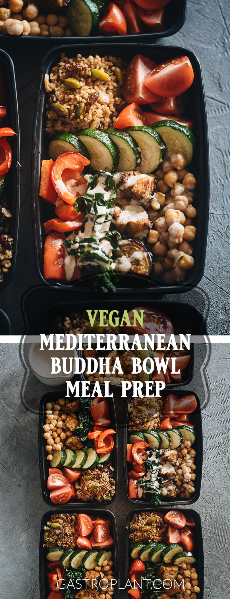 Easy Healthy Mediterranean Buddha Bowl Meal Prep Collage