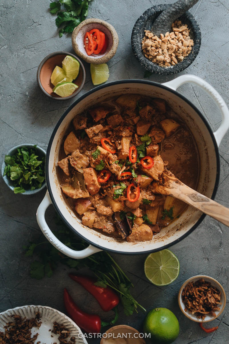 Balanced Vegan Massaman Curry in Saucepan