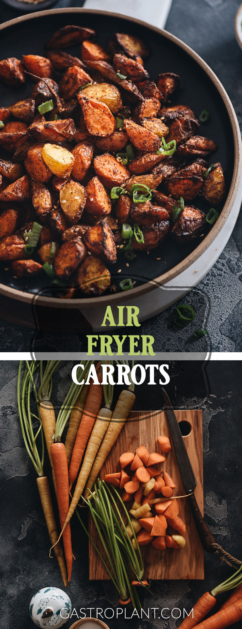 Easy Healthy Spiced Air Fryer Carrots collage