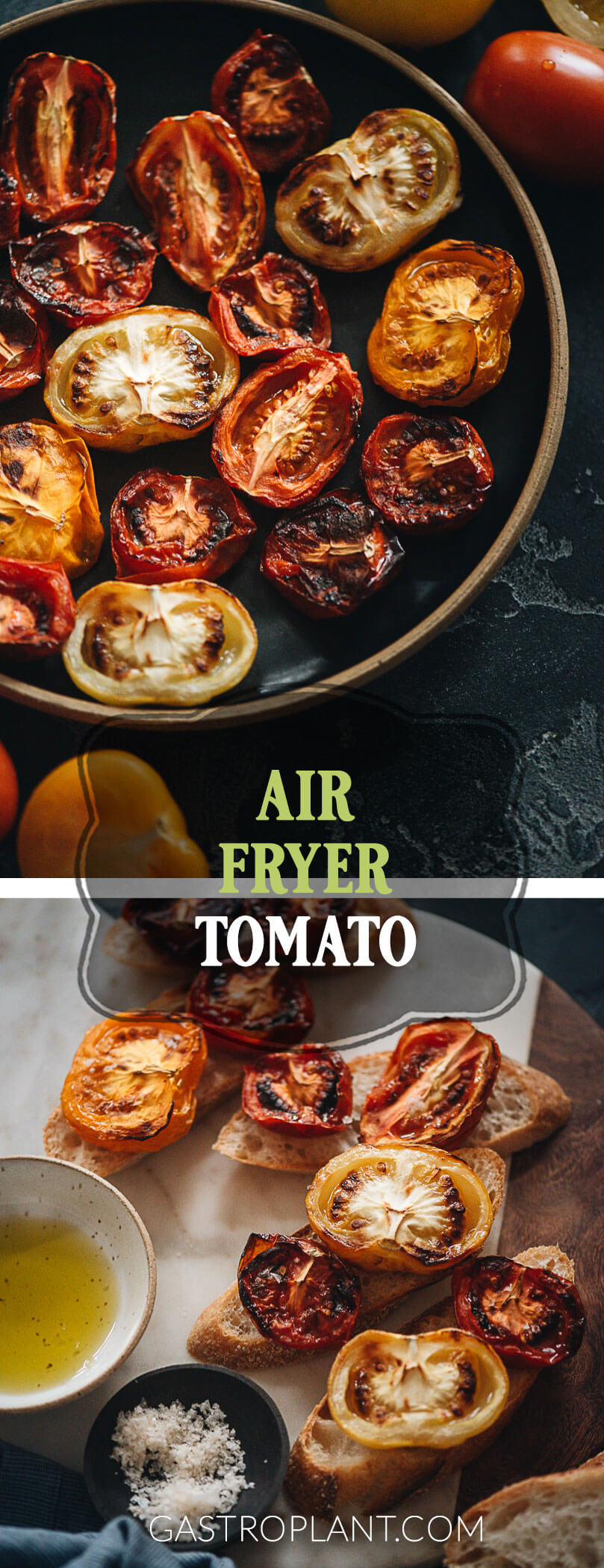 Easy roasted air fryer tomatoes collage