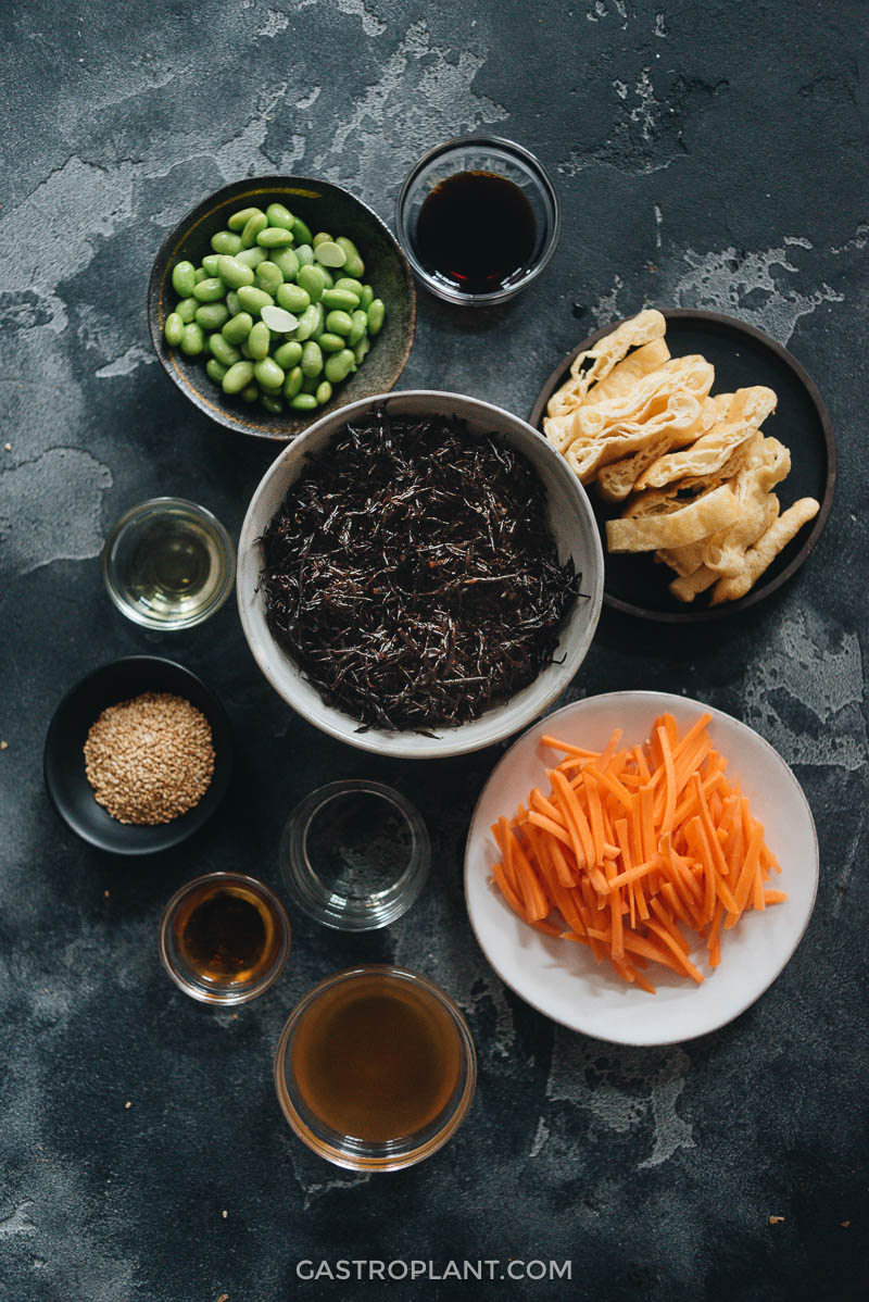 Ingredients for healthy vegan hijiki salad