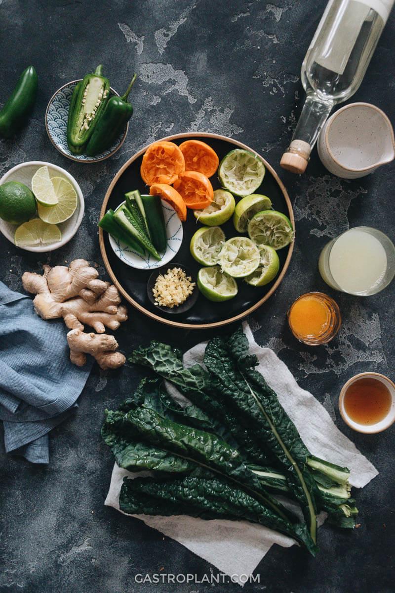 Ingredients for jade mezcal margarita