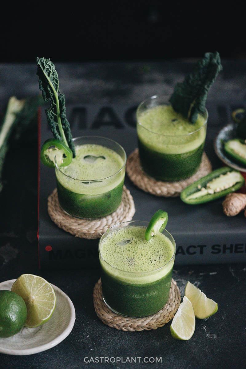Complex craft cocktail jade mezcal margarita