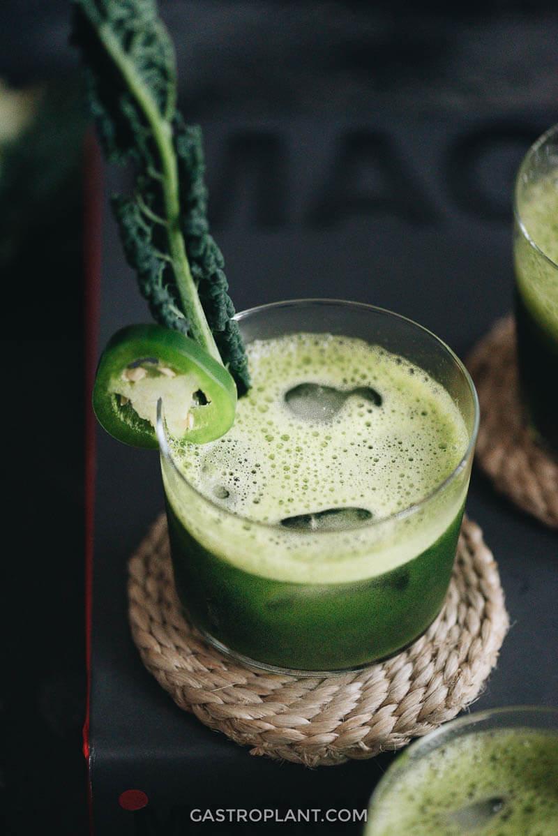 Craft cocktail jade mezcal margarita