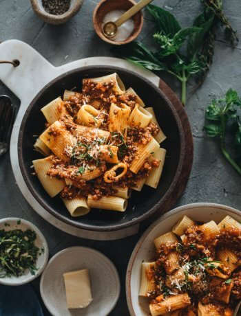 Healthy Vegan Bolognese Sauce on Italian Pasta