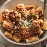 Healthy Vegan Bolognese Sauce on Italian Pasta