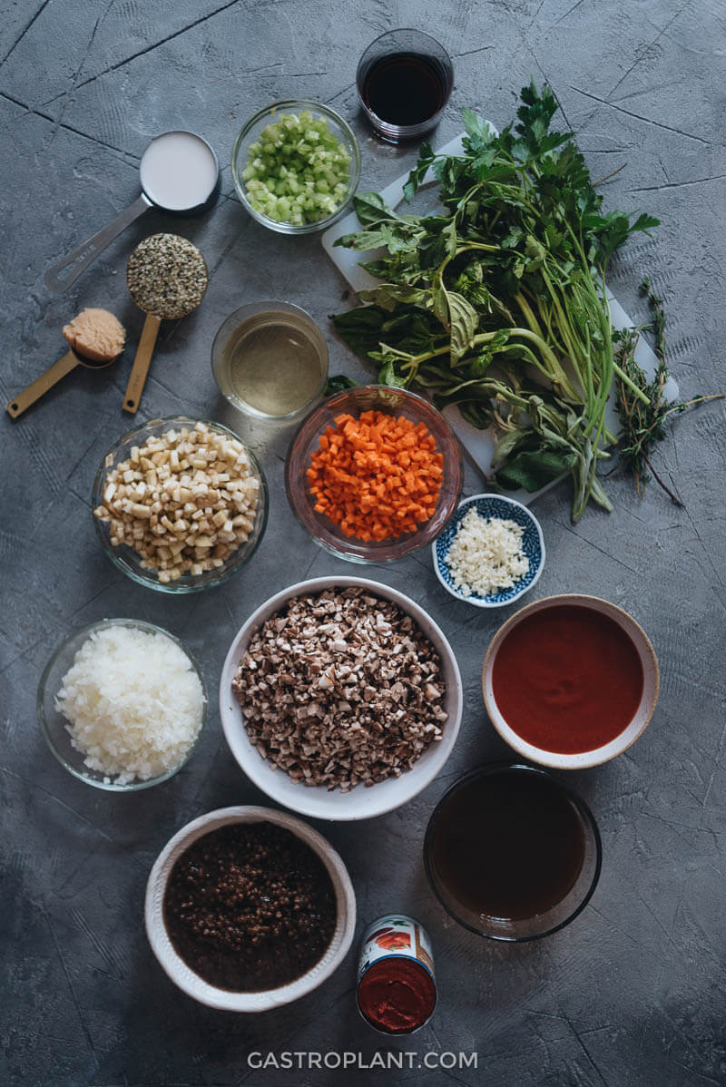 Ingredients for a healthy meaty vegan bolognese sauce