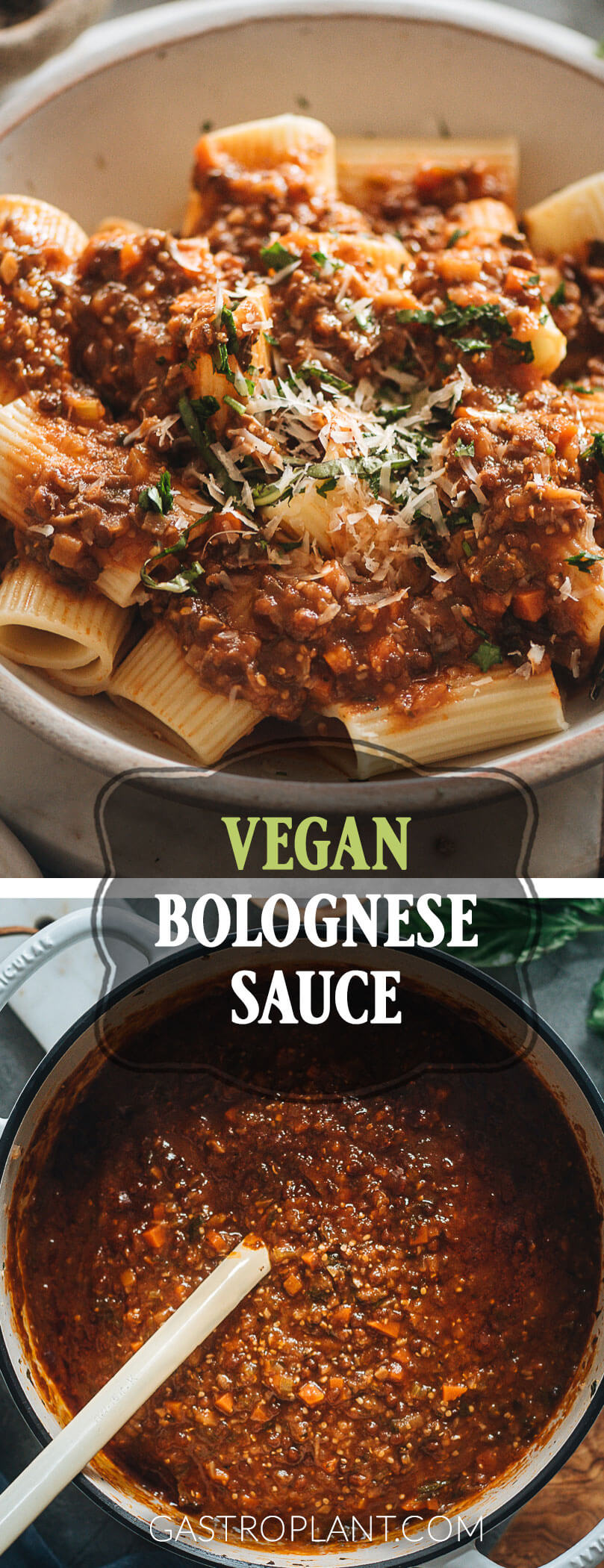 Healthy Meaty Vegan Bolognese Sauce Collage