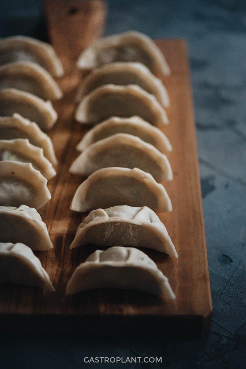 Uncooked mushroom dumplings