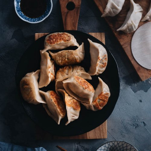 Homemade vegan dumplings for dinner