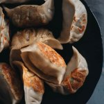Pan-fried vegan mushroom dumplings close-up