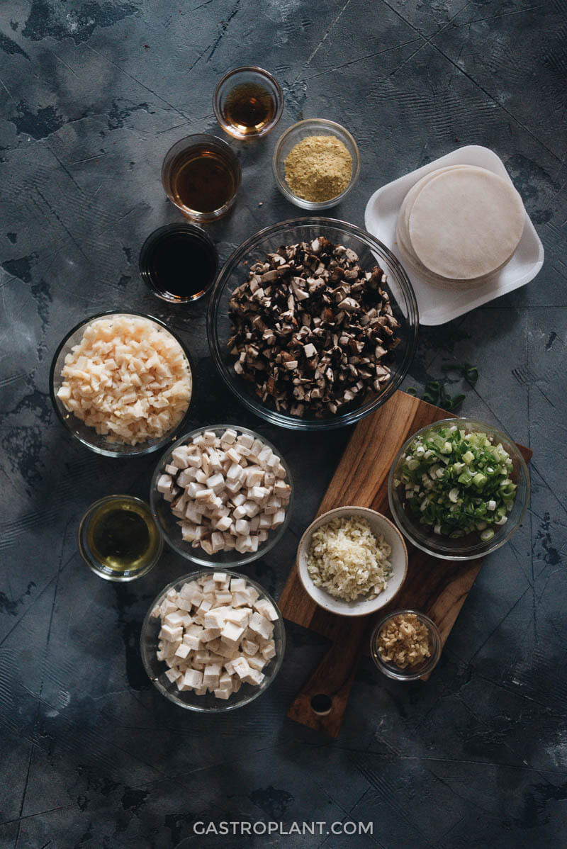 Ingredients for homemade vegan mushroom dumplings