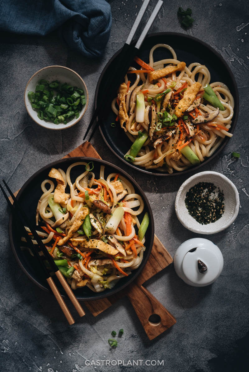 Mega delicious vegan yaki udon on the table for dinner