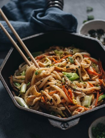 Easy plant-based stir-fried udon noodles