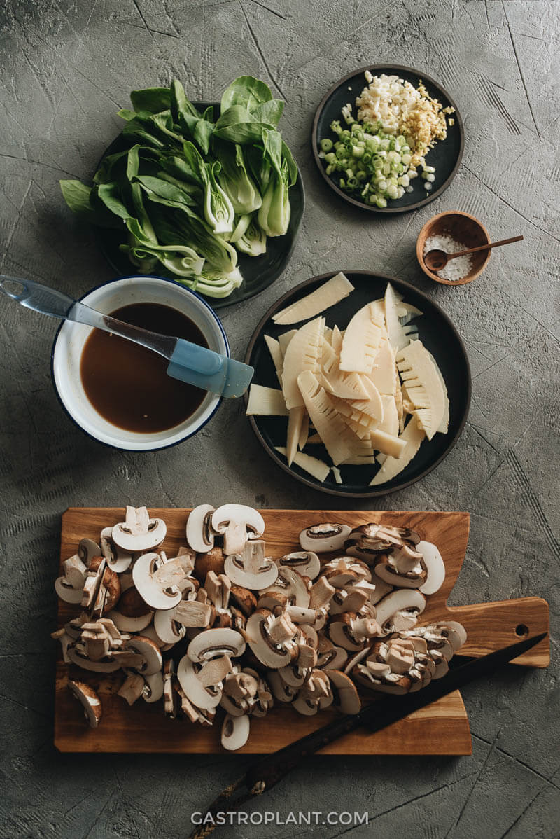 Ingredients for Chinese Mushroom Stir-Fry