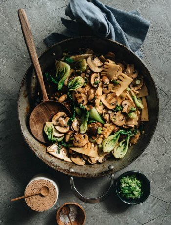 Easy Chinese Mushroom Stir-Fry in Skillet
