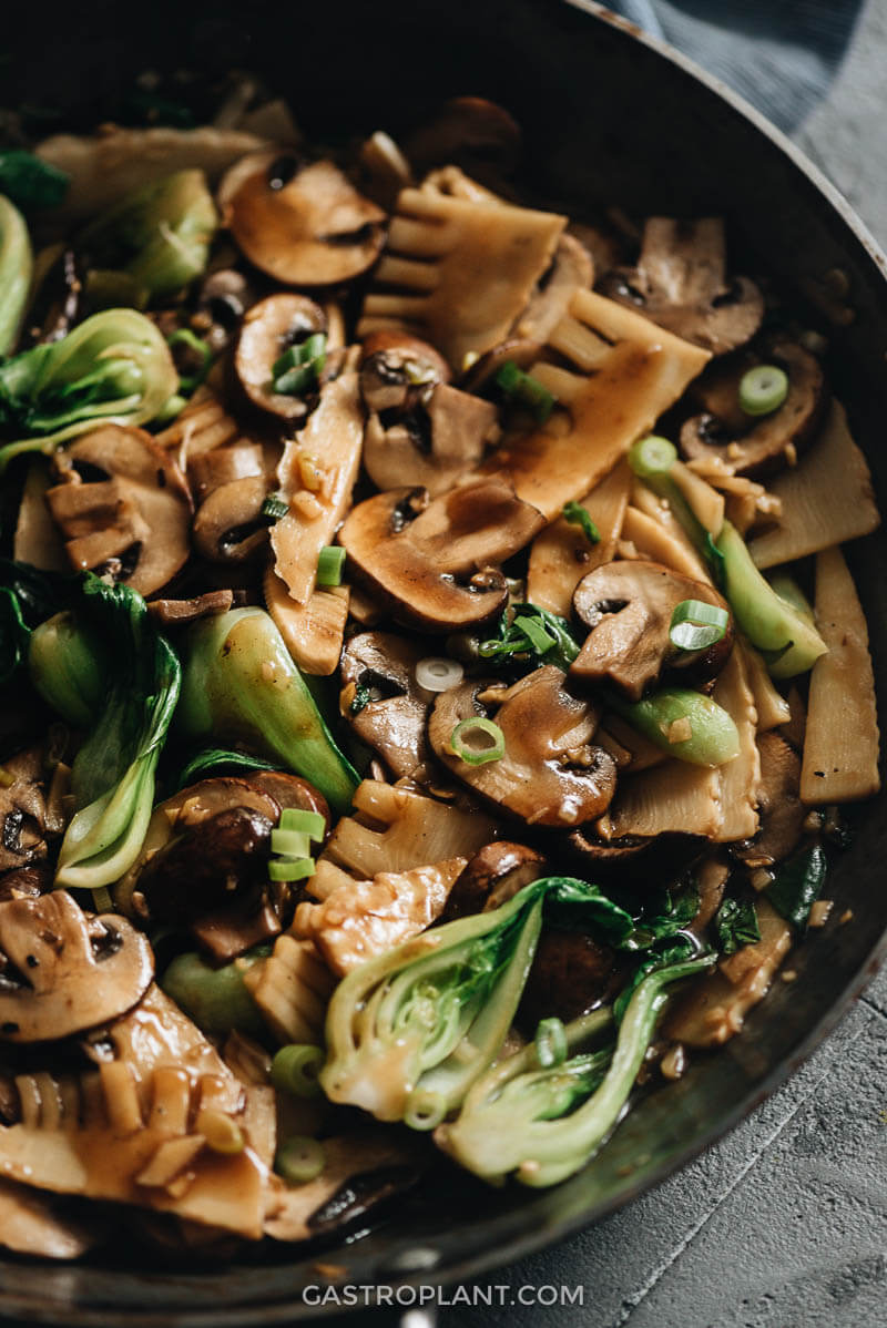 Easy Chinese Mushroom Stir-Fry Close-Up