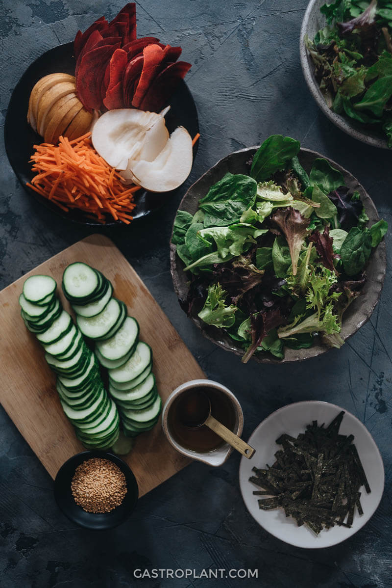 Ingredients for Asian pear salad
