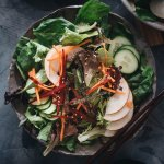 Refreshing Asian pear salad with cucumber and beet