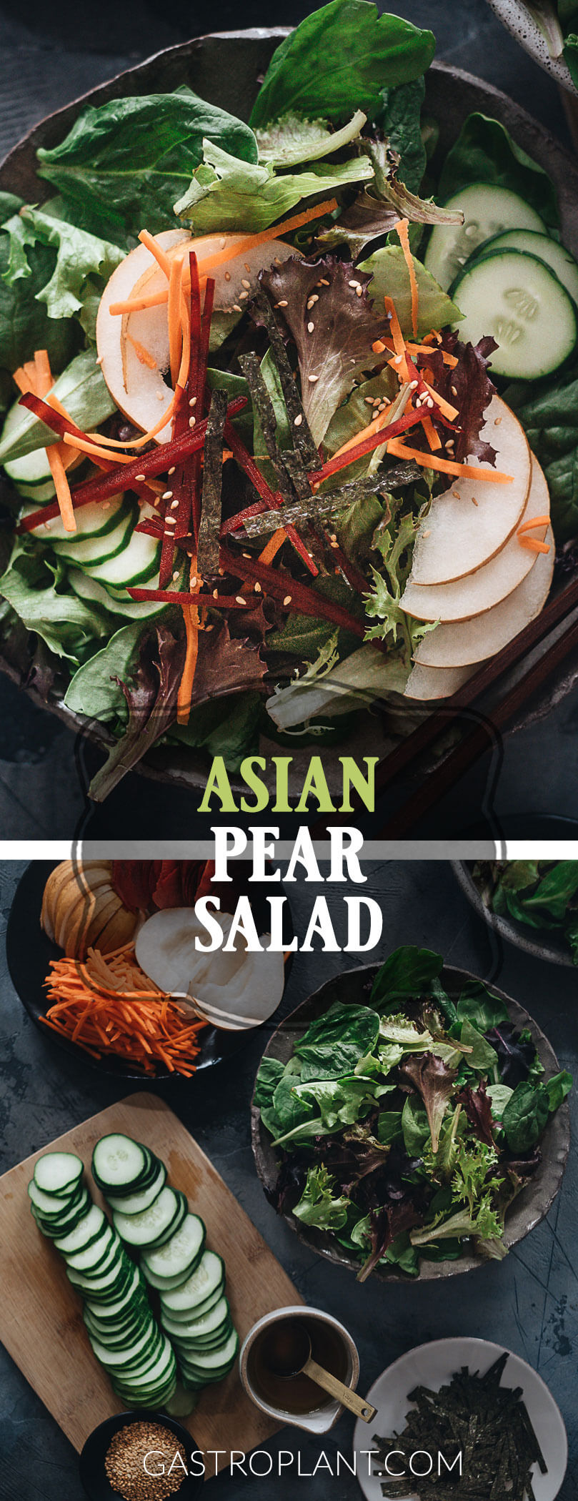 Refreshing and quick Asian pear salad collage