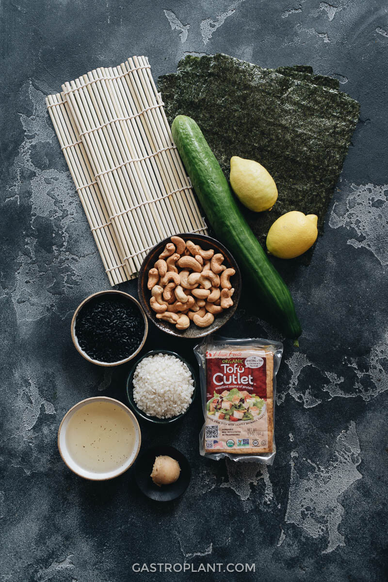 Ingredients for Vegan Lemon Tofu Sushi Rolls with Cucumber