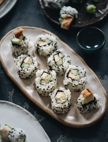 Vegan Lemon Tofu Sushi Rolls with Cucumber