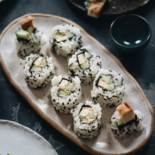 Vegan Lemon Tofu Sushi Rolls with Cucumber