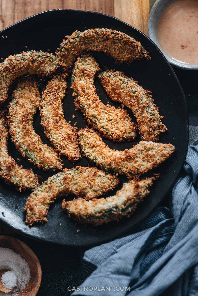 Vegan avocado fries close-up