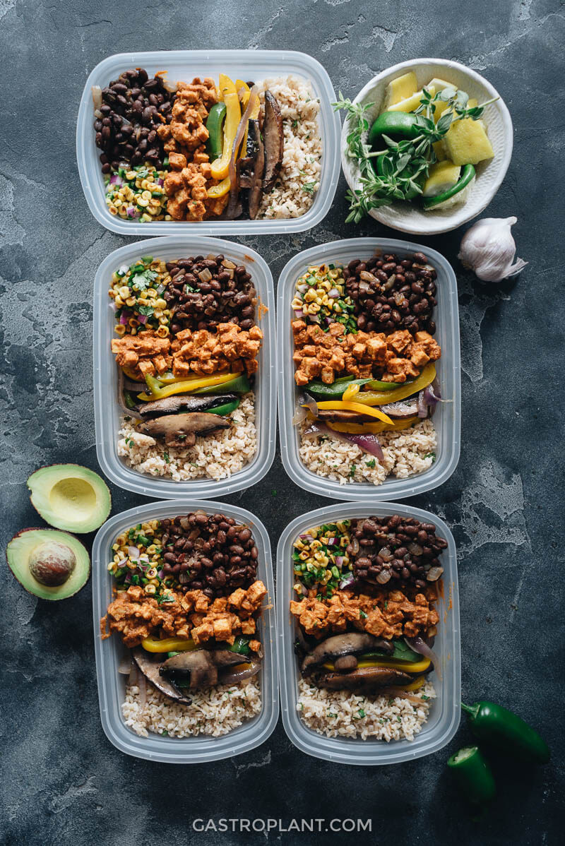 Easy Vegan Chipotle Buddha Bowl Meal Prep with Tempeh